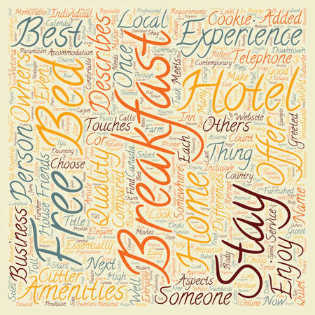 breakfast in bed: The Bed And Breakfast Experience text background wordcloud concept