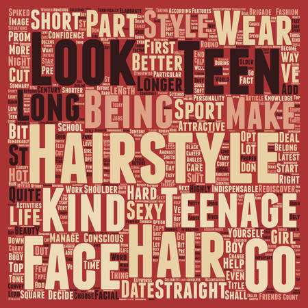 prom night: Teen Hair Styles text background wordcloud concept