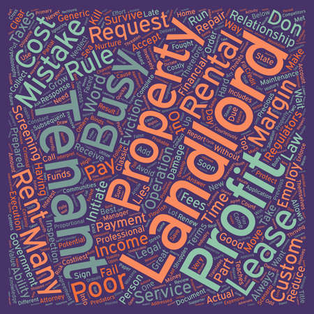 landlord: The 10 Costliest Landlord Mistakes text background wordcloud concept Illustration