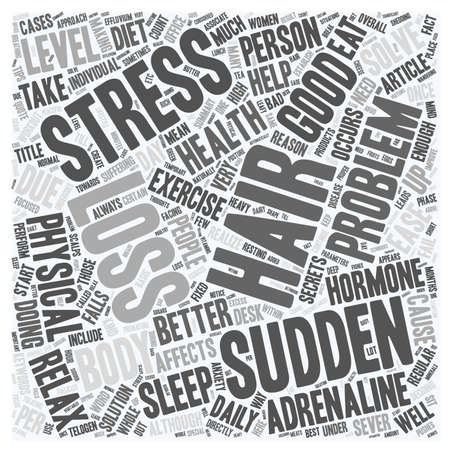 sudden: Sudden Hair Loss Is stress is the cause text background wordcloud concept