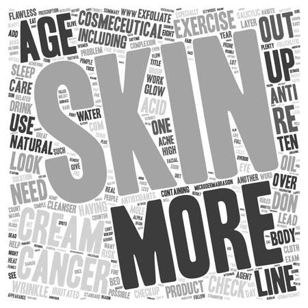 straighten: Ten Habits for Flawless Skin text background wordcloud concept