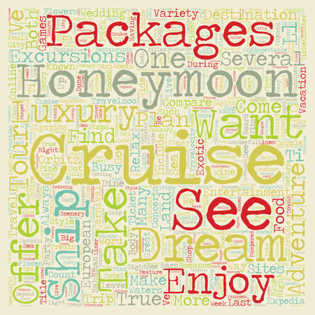 Take an Unforgettable Dream Honeymoon Cruise text background wordcloud concept