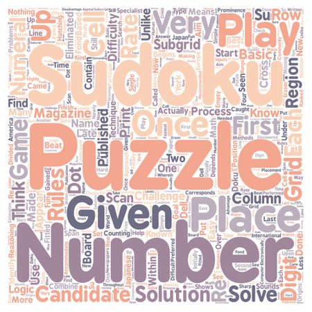 reasoning: sudoku rules text background wordcloud concept Illustration