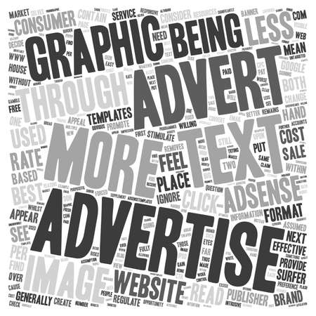 Text v Graphic on Adsense text background wordcloud concept