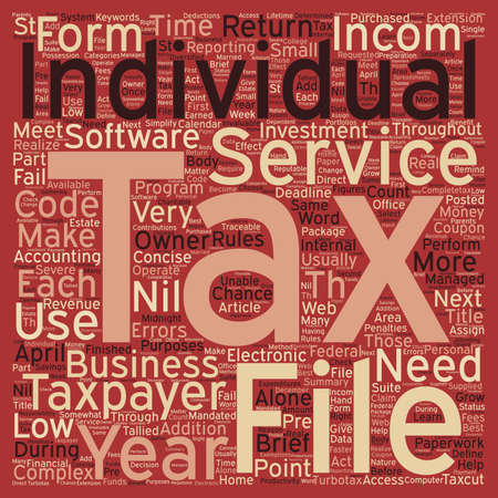 individuals: Tax Services For Individuals text background wordcloud concept Illustration