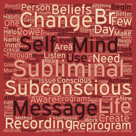 Subliminal Message Power text background wordcloud concept 일러스트