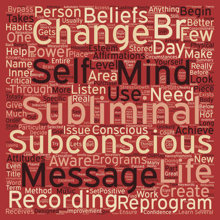 Subliminal Message Power text background wordcloud concept Çizim
