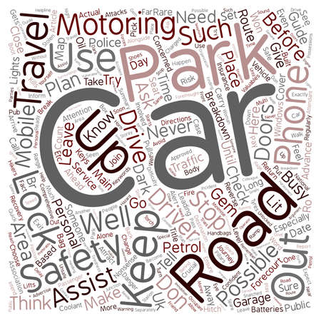 motoring: Road Safety Guides Personal Safety On The Road text background wordcloud concept Illustration