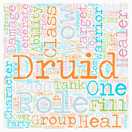 looked: Role of The Druid WOW text background wordcloud concept