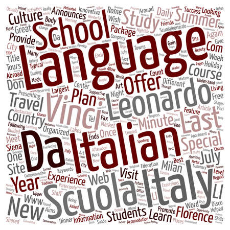 leonardo da vinci: Scuola Leonardo Da Vinci Announces The New Last Minute Special Offers For Summer text background wordcloud concept