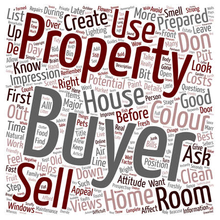 first house: Sell a house in the first 60 seconds text background wordcloud concept