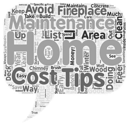 maintain: Save Money Maintain Your Home text background wordcloud concept Illustration