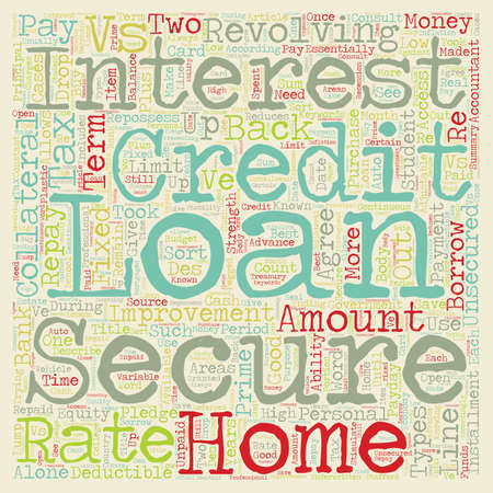 vs: Secure vs Unsecured Loans text background wordcloud concept Illustration
