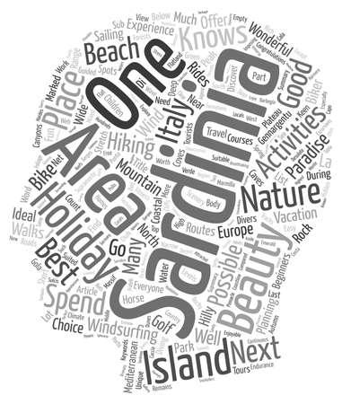sardinia: Sardinia holiday activities text background wordcloud concept Illustration
