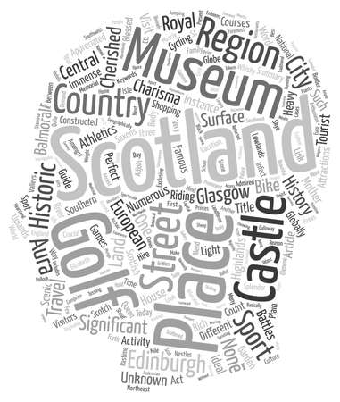 travel guide: Scotland travel guide text background wordcloud concept