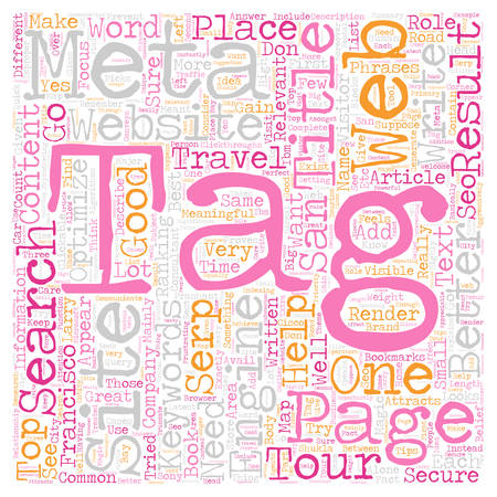 Role of Meta Title Tag in SEO text background wordcloud concept Illustration