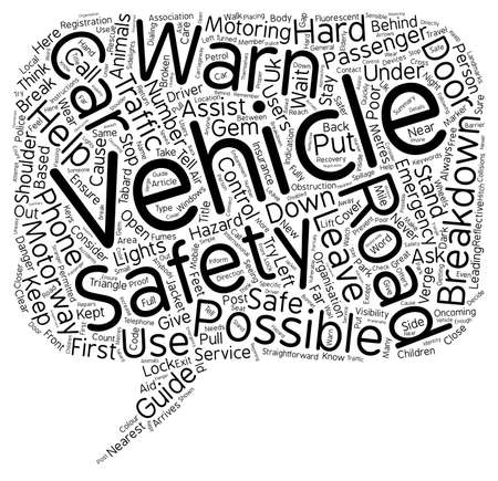 Road Safety Guides What To Do If You Break Down text background wordcloud concept