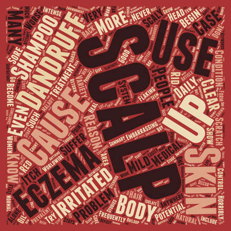embarrassing: Scalp Eczema 3 text background wordcloud concept