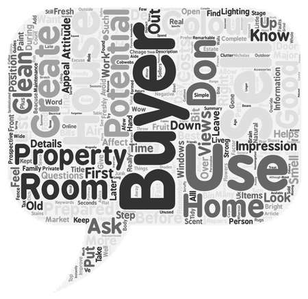 first house: Sell a house in the first seconds text background wordcloud concept Illustration