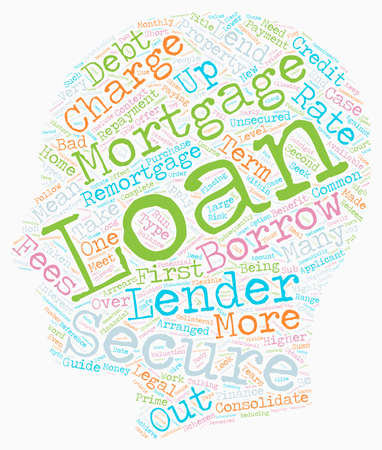 Secured Loans Primer text background wordcloud concept Ilustrace