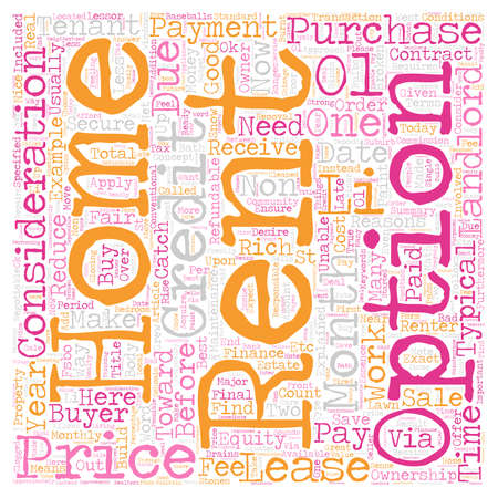 homes: Rent To Own Homes Explained text background wordcloud concept Illustration