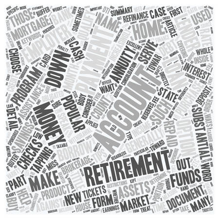 annuities: Refinance Mortgage Tips Down Payment From 401k Or 403b Retirement Annuities text background wordcloud concept
