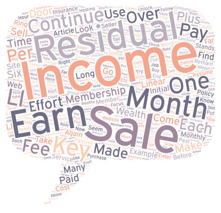 residual income: Residual Income Can Be Your Key To Wealth text background wordcloud concept