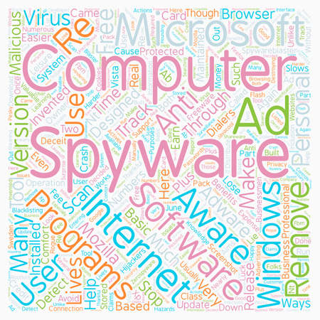 Remove Spyware text background wordcloud concept Illustration