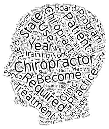 requirements to become a chiropractor text background wordcloud concept Ilustração