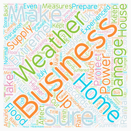 devastating: Protect Your Home Business From Extreme Weather text background wordcloud concept