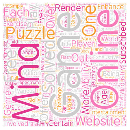 mind games: Puzzle Your Mind With Flash Games text background wordcloud concept