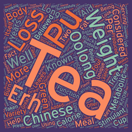 Pu erh And Oolong Teas For Weight Loss Your 1 Key text background wordcloud concept Illustration