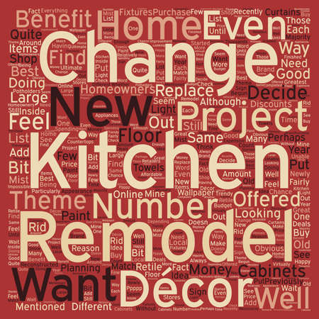 d cor: Remodeling Your Kitchen Why You Should Also Change Your Decor text background wordcloud concept Illustration