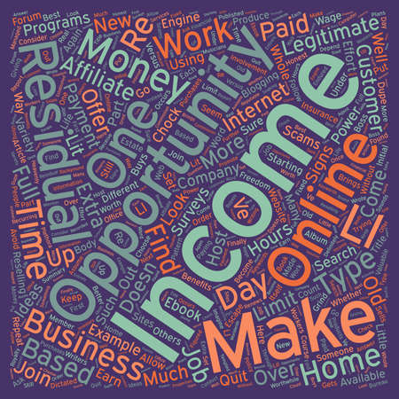 residual income: Residual Income The Power Of Repeat Payments text background wordcloud concept