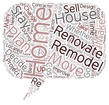 relocate: Relocate or Renovate text background wordcloud concept