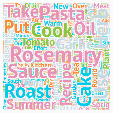 Recipes With Rosemary text background wordcloud concept