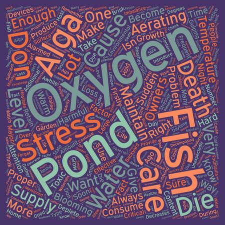 Proper Care for Your Fish Pond u Maintaining the Oxygen Level text background wordcloud concept Ilustração