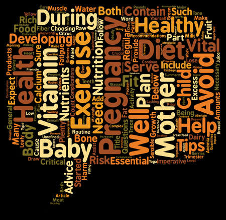 Pregnancy Exercise And Diet Tips Sensible Advice For Expectant Mothers text background wordcloud concept Illustration
