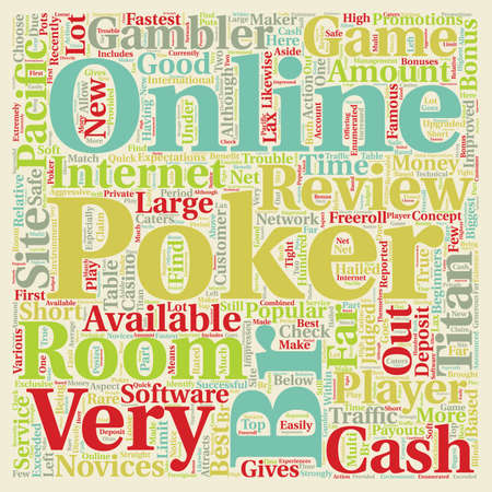 online poker room reviews text background wordcloud concept Illustration