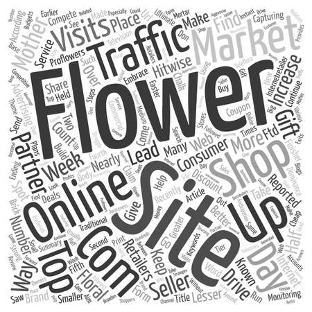 make summary: Online Flower Shops Compete For Web Traffic With Partners text background wordcloud concept Illustration