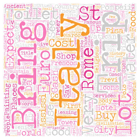 Our Trip To Italy April text background wordcloud concept