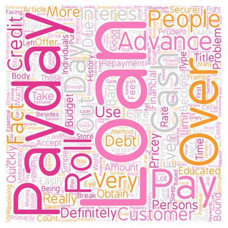 Pay Day Advance leningen Prudent Met die dure Roll Overs tekst achtergrond wordcloud begrip Stock Illustratie