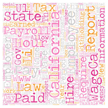 aspects: Payroll California Unique Aspects of California Payroll Law and Practice text background wordcloud concept