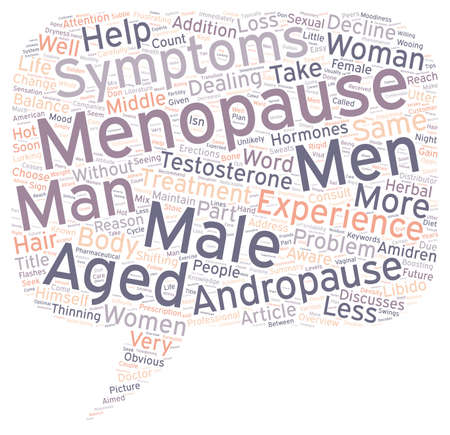 andropause: OVERVIEW OF MALE MENOPAUSE text background wordcloud concept