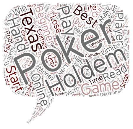 Online Texas Holdem Poker for Beginners text background wordcloud concept
