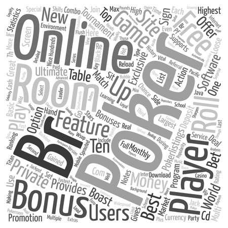 online poker room text background wordcloud concept