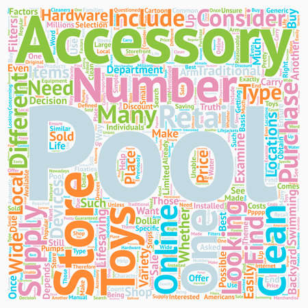 Pool Accessories Where You Can Buy Them text background wordcloud concept 向量圖像