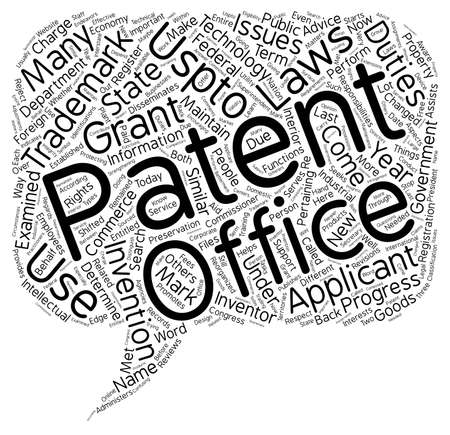 patent and trademark office text background wordcloud concept