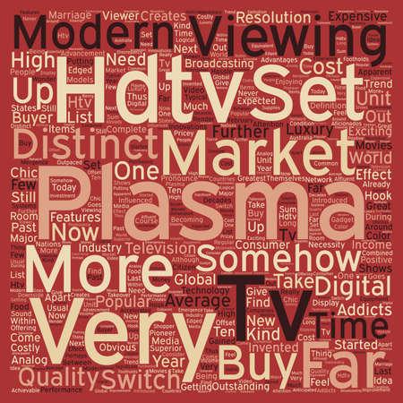hdtv: plasma hdtv text background wordcloud concept Illustration