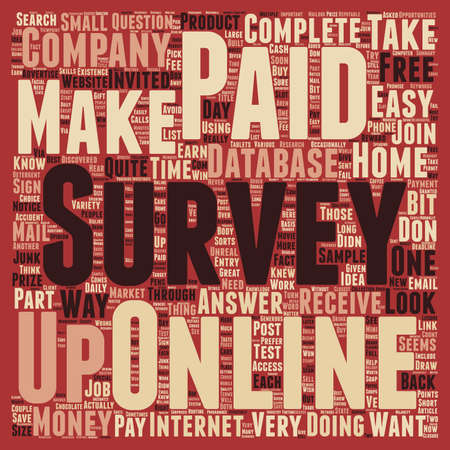 make summary: Paid Online Surveys An Easy Way To Make Money At Home text background wordcloud concept